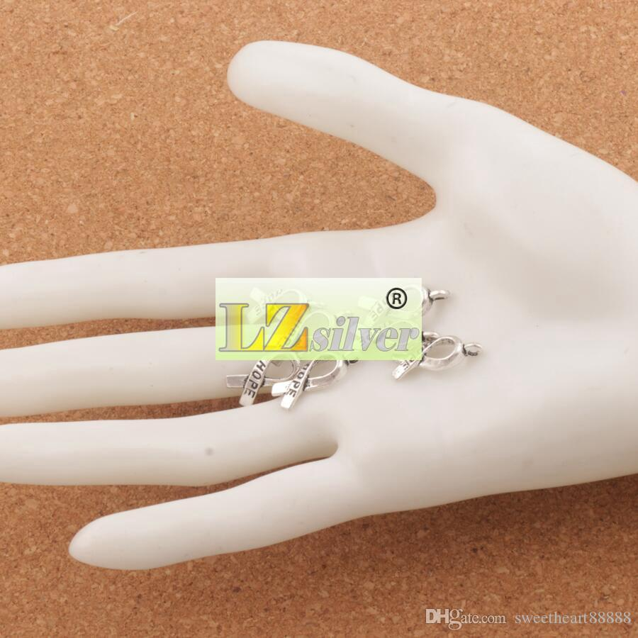 アウェアネスホープリボンメタル合金チャーム150ピース/ロット7.7x18.6mmチベットシルバーペンダントファッションフィットブレスレットネックレスイヤリングL088