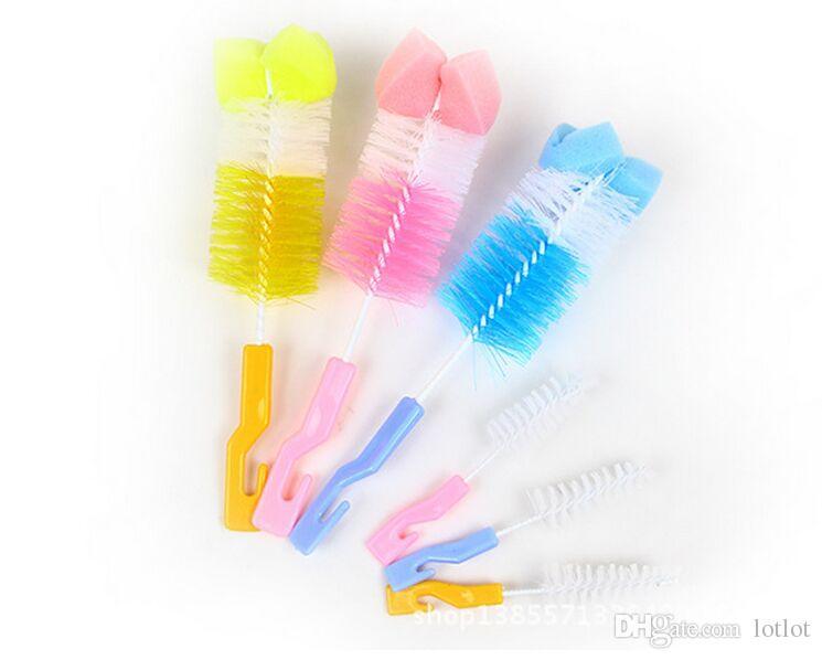 Escova de Esponja de Rotação de 360 Graus de Rotação Escova de Limpeza de Mamilo Leite de Beber Mamadeira Mamilo