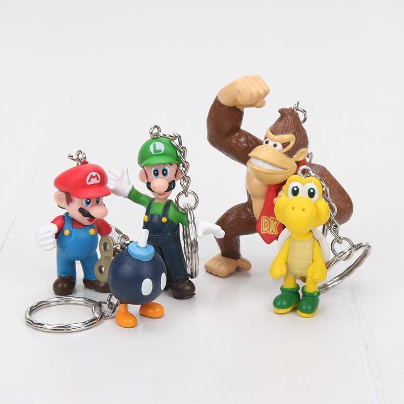 New High Quality PVC Super Mario keychain Bros Luigi Action Figures youshi mario Gift retail