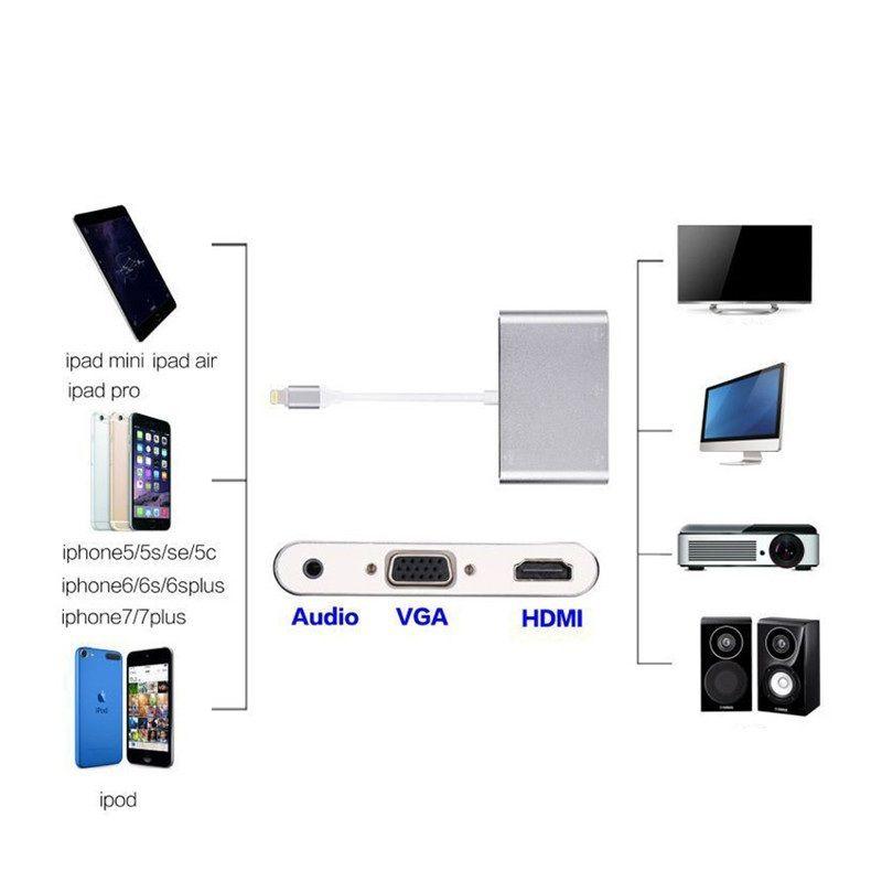 Nuevo 3 en 1 Dock a HDMI VGA AV Adaptador Convertidor Cable para iPhone Audio Cable Adaptador de Video