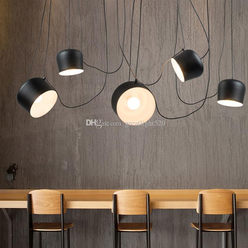 1/2/3/4/5 Heads DIY Drum Led Pendant Lamp For Restaurant Modern Clothing Store Window Industrial Pendant Light Indoor Lighting Fixture