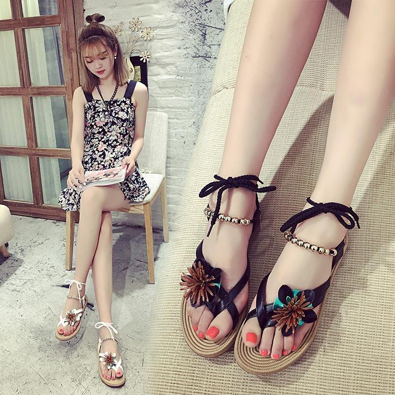 839d9e704846 Women New Fashion Korean Sandals Roman Flat Bohemian Straps Simple Flowers Beach  Shoes With Black Color For Women And Suit Platform Shoes Prom Shoes From ...