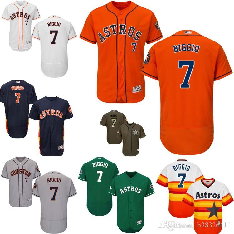 big sale ea45d b289e mens houston astros 7 craig biggio white with orange ...