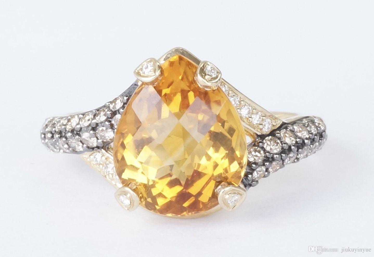 2017 14k Yellow Gold Levian Citrine & Chocolate Diamond Cocktail ...