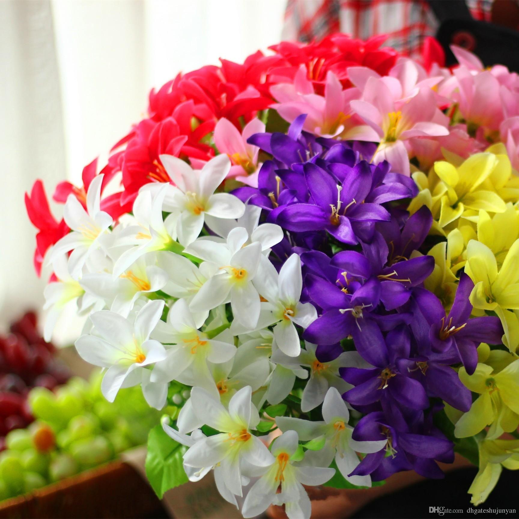 Artificial Flower Fake Mini Lily 30 Heads Bouquet Craft Wedding