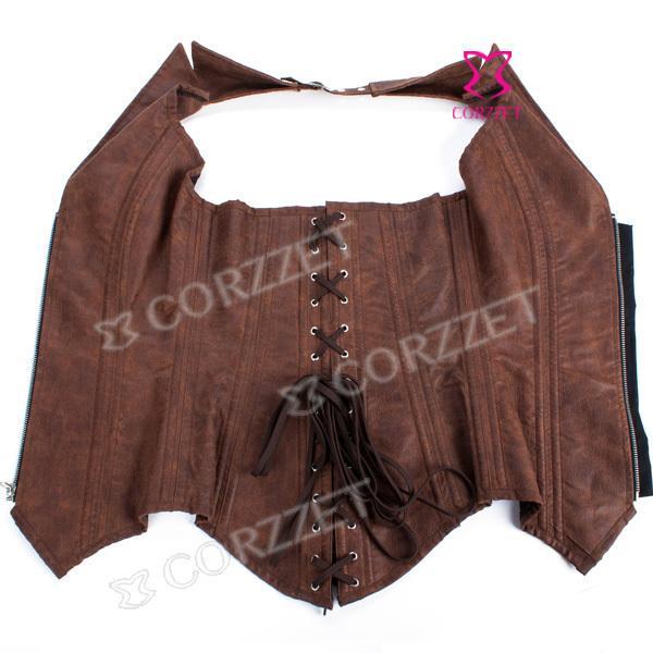 Gótico Roupas Zíper Frente Marrom Faux Leather Steampunk Espartilho De Aço Osso Burlesque Bustiers Espartilhos Mulheres Corpete Corselet