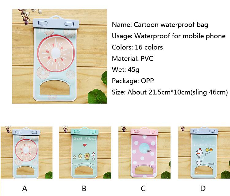 Cartoon Waterproof bag PVC Protective Mobile Phone Bag Pouch underwater camera For Iphone X 6 7 8 / Plus
