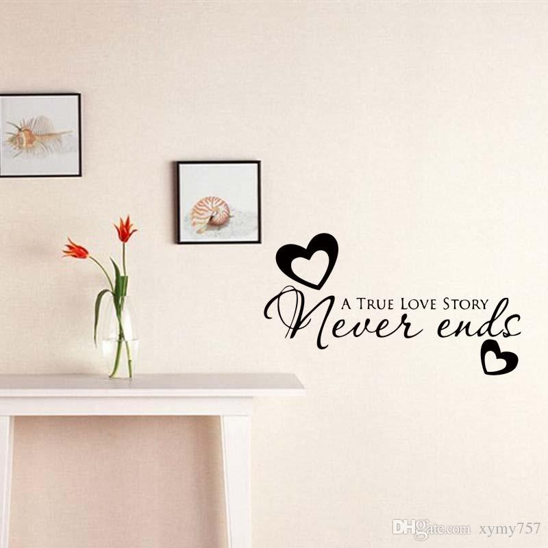 For True Love Never Ends Heart Quote Wall Stickers Art Bedroom