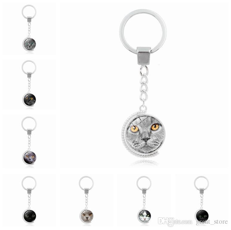 Brand new Black cat face double-sided rotating time gemstone key ring pendant alloy key ring KR144 Keychains mix order 20 pieces a lot