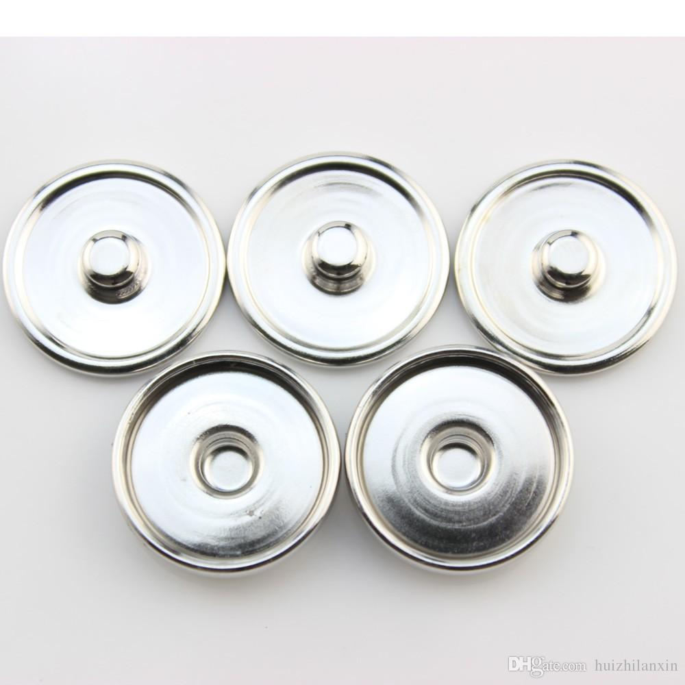 Base Accessories Round Silver Tone Cabochon Setting For 12MM/18MM Snap Button