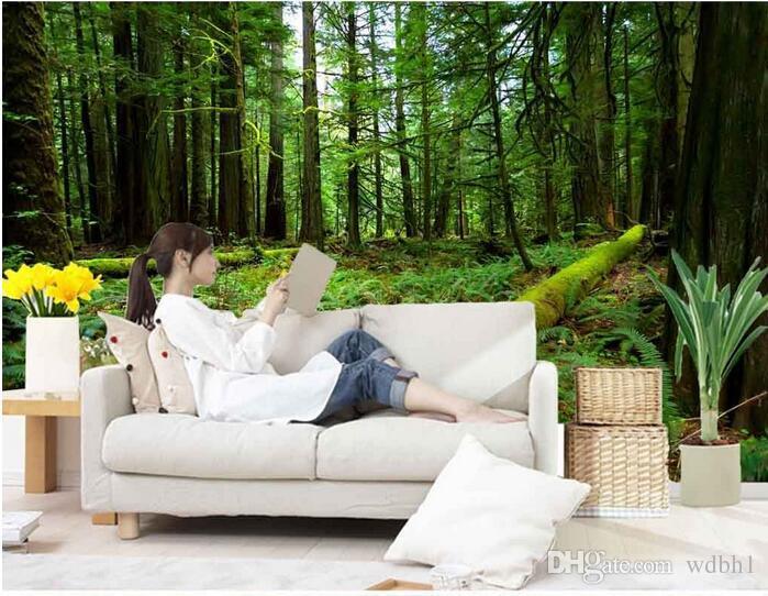 3D 벽지 사용자 정의 사진 부직포 벽화 버진 포리스트 녹색 풍경 장식 그림 그림 벽 3 d 벽 벽 종이 3 d