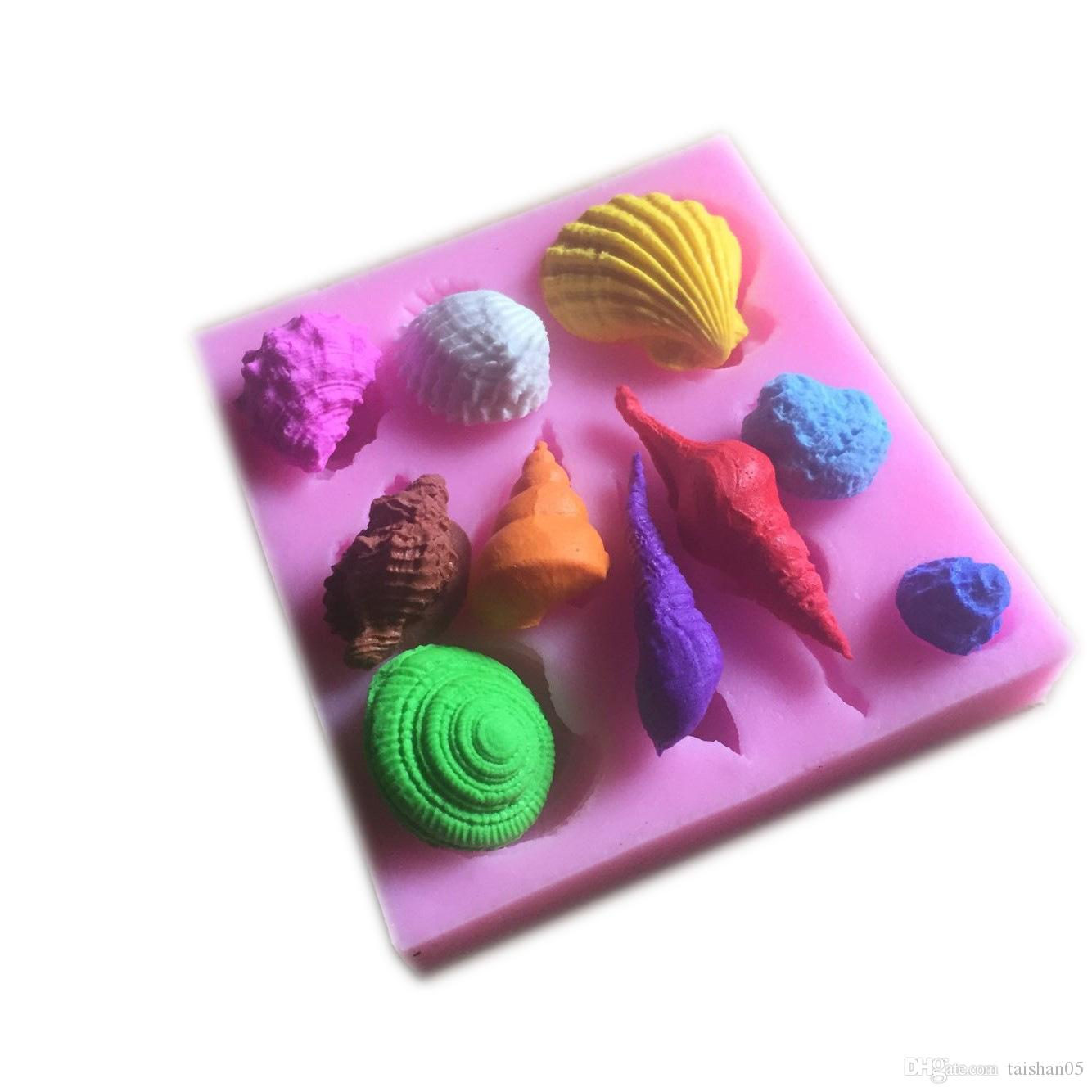 10hole Sea Shell Shape Chocolate Silicon Mold Fondant Cake Decoration Mold
