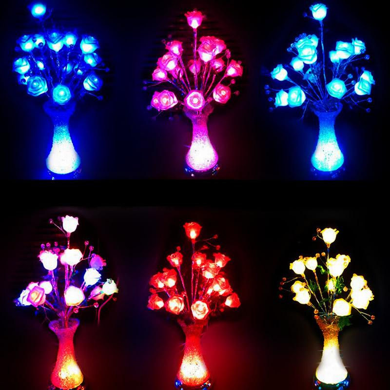 2017 Led Simulation Glow Flowers Vase Lights Multi Colors Led Rose