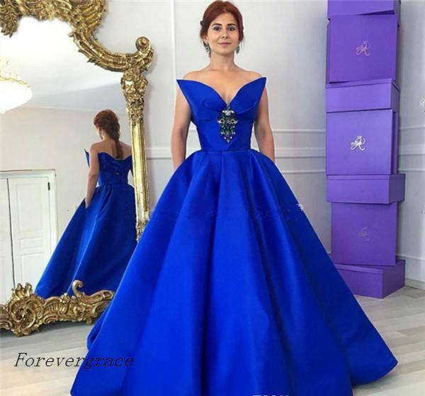 2017 Arabic Royal Blue Prom Dress Cheap Unique Design Pockets ...