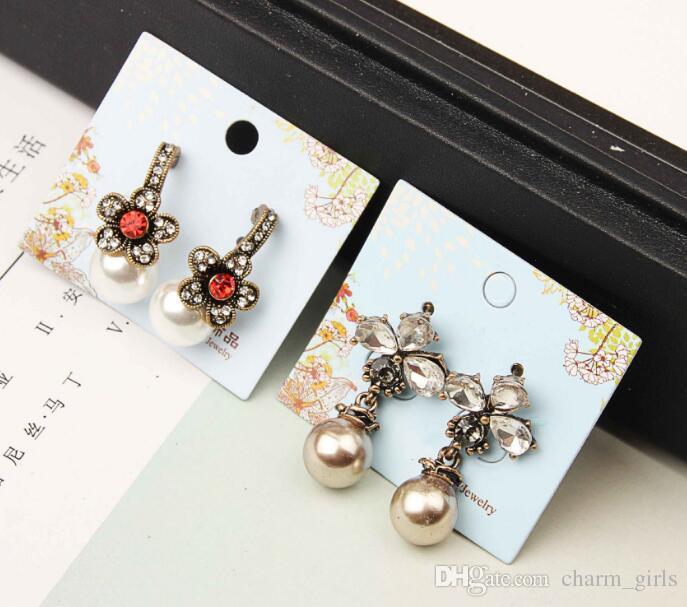 Miscelazione casuale 15 stile 15 paia anti allergia cristallo perla nappe orecchini nappati orecchini ciondola lampadario