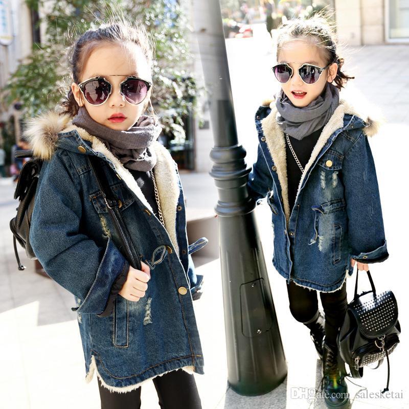 Pydownlake Fashion Children\u0027S Costumes Thicken Velvet Winter Girls Jacket  Full Sleeve Kids Girls Jeans Coats \u0026 Denim Jackets Girls Outfits Kids Parka  Jacket