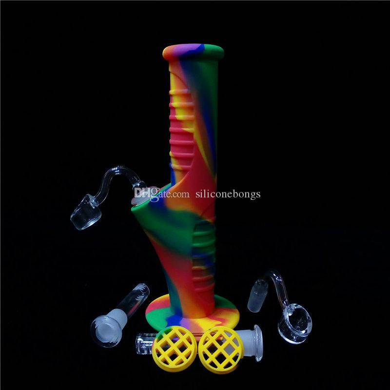 Tubos del arco iris 9,5 pulgadas Mini silicona Bong Bong agua irrompibles Tubos pelele