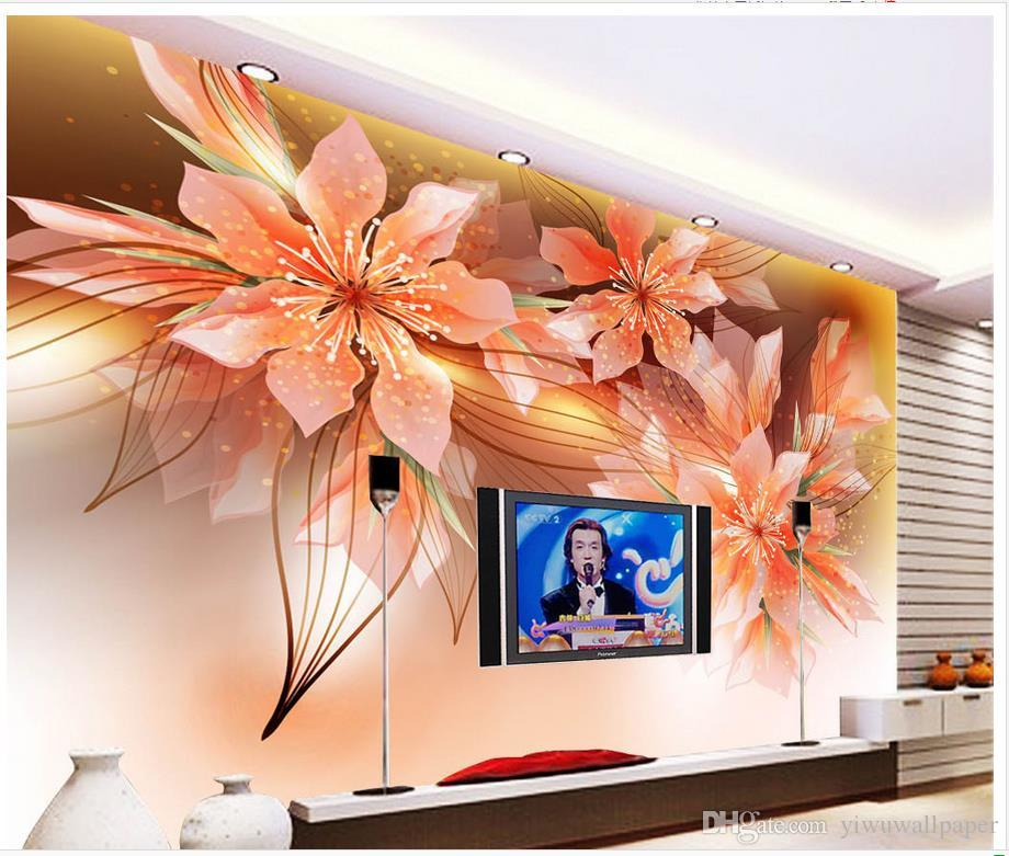High Quality Customize size Modern Gold rich pattern background wallpaper for walls 3 d for living room
