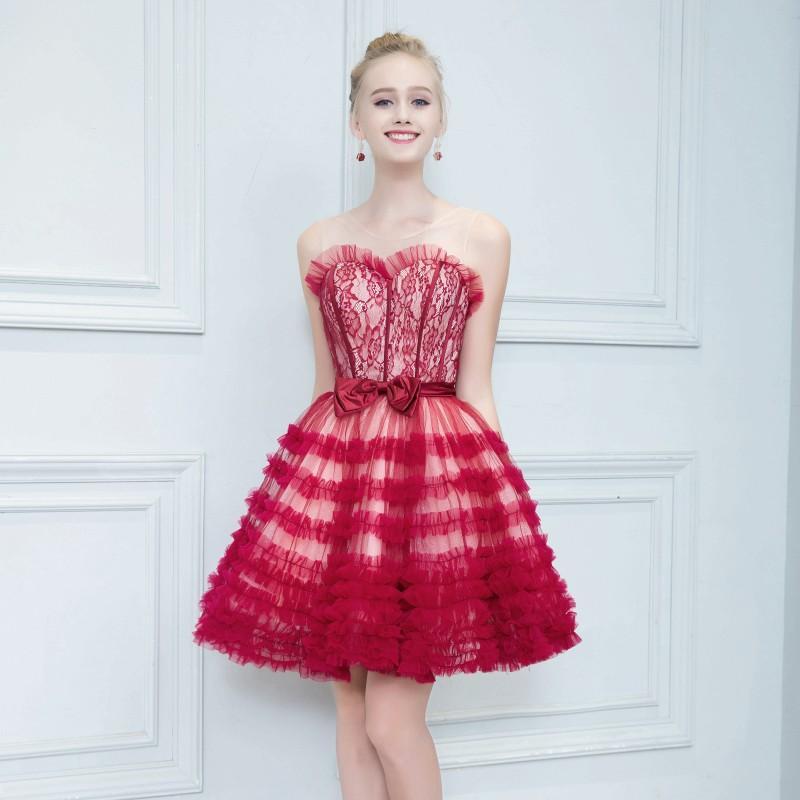 Compre Sweet Red Corto De Vestidos De Cóctel Con Arco De Encaje Sin ...