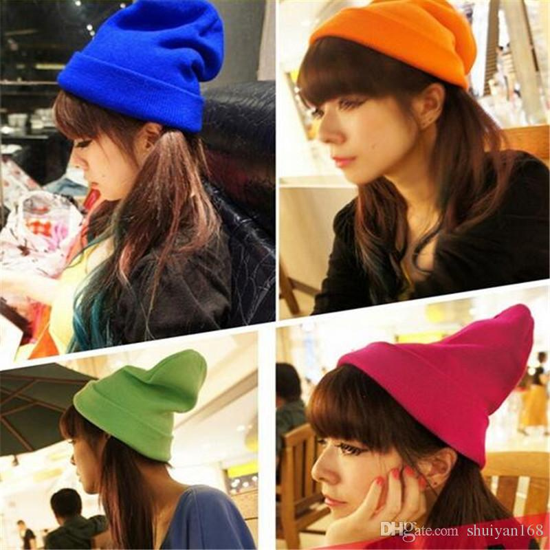 Hip Hop Beanie Women Fashion Knit Neon Winter Hat for Men Beanie Girls Casual Cap Warm Winter Hats Men Warm Winter Hats DHL