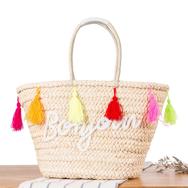 Hot Summer Straw Beach Handbags Purse Colorful Tassel Letter Women Shopping  Tote Bohemian Style Weave Travel Shoulder Bag C31 Summer Straw Beach  Handbags ... c465d5e6170ba