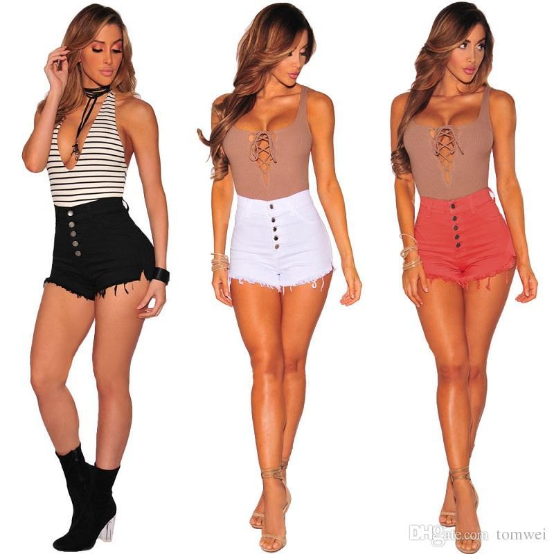 cbea95fa36 2019 Ladies Denim Shorts Women Jeans Shorts Summer Trousers Plus Size  Clothing White Black Pink Mid Waist Pants New Fashion S M L XL 2XL From  Tomwei, ...