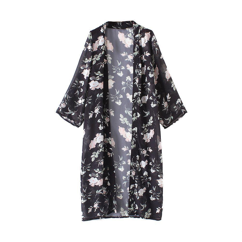 2018 Women Long Chiffon Kimono Cardigan Floral Beach Cover Ups ...