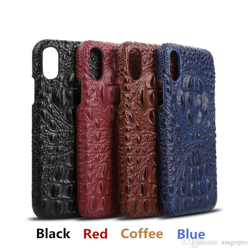 Новый кожаный чехол для iPhone X 7 8 Plus 7plus сотовый телефон роскошные 3D Крокодил Pattern ретро старинные жесткий Shell обложка чехлы