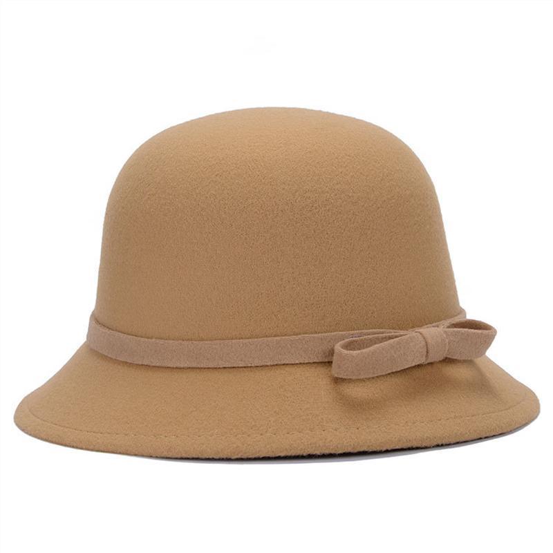 ed513946e51a6 Compre es Otoño Invierno Nuevas Mujeres De Lana Sombreros De Copa Hojas De  Moda Para Señoras Sombreros De Cubo Retro Stingy Brim Sombreros GH 42 A   3.02 Del ...