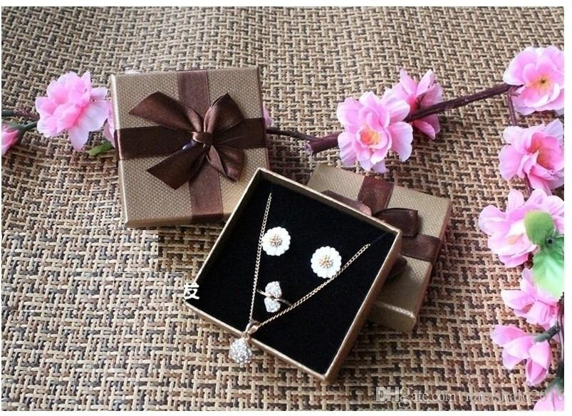 Coffee Jewelry Box for Necklace Vintage Bow Tie Necklaces Gift Boxes for Earrings Rings Packing box 7*7cm BX-13