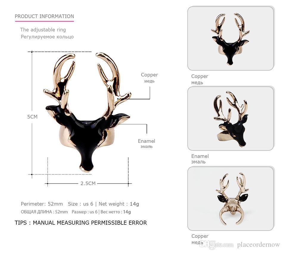 Уникальный дизайн мода эмаль манжеты заявление кольца для женщин мужчины черный белый олень глава медь позолоченные ювелирные изделия