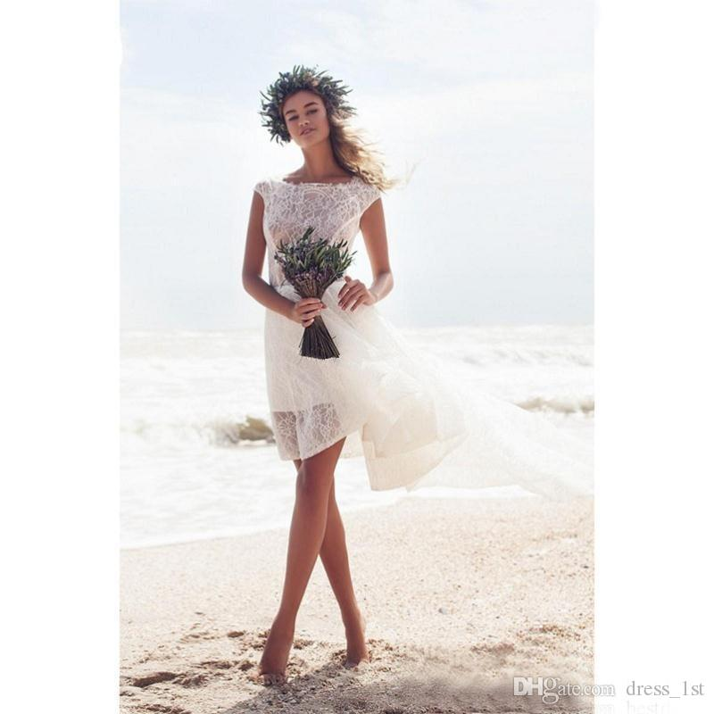 Modest 2019 Ivory Lace Short Beach Wedding Dresses Cheap Sexy Backless Bateau High Low Boho Bridal Gowns Custom Made China EN2141