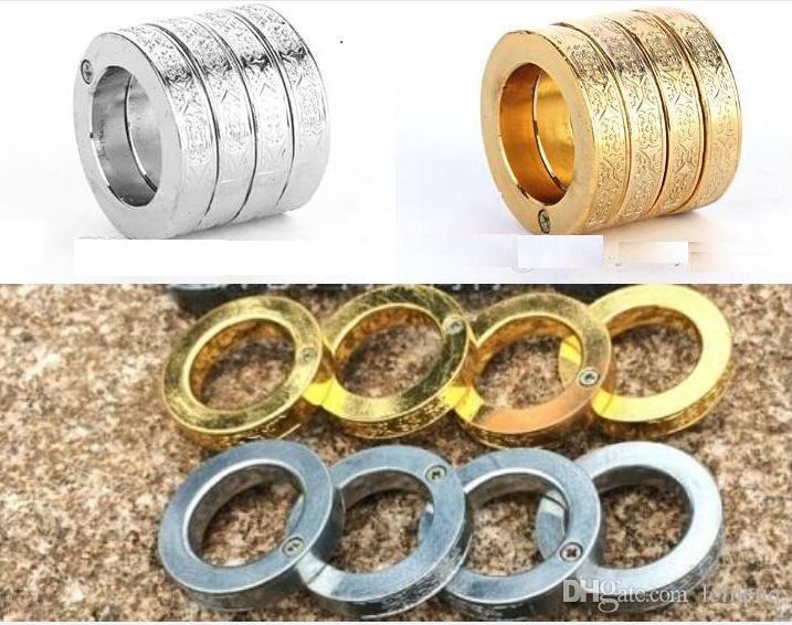 Anelli in oro e argento Anello in acciaio inossidabile autodifesa Un anello si svolge in quattro anelli di difesa Knuckle Spedizione gratuita