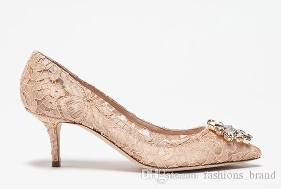 fe33ee5e3ce3 Pink Lace Ladies Shoes Pumps Party Wedding Runway Shoes Women Rhinestones  Crystal Flower High Heels Sweety Girl Sapato Feminino Silver Heels Dress  Shoes ...