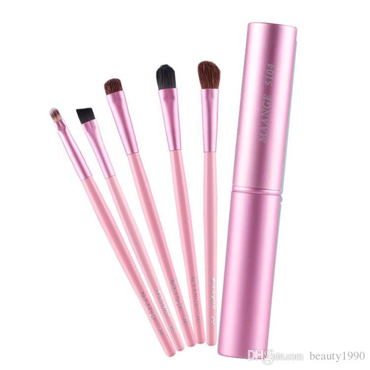 5 unids / set Pinceles de Maquillaje Set Oblique Eye Shadow Brush Sombra de Ojos Ceja Delineador de ojos Maquillaje Pincel Con Caja de Cosméticos