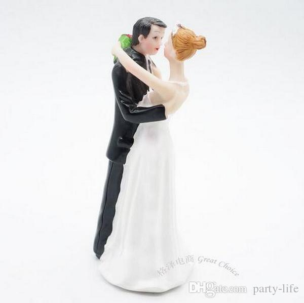 The Bride hugs Groom With Flower Funny Wedding Cake Topper Personalized Cake Toppers in Event and Party Supplies