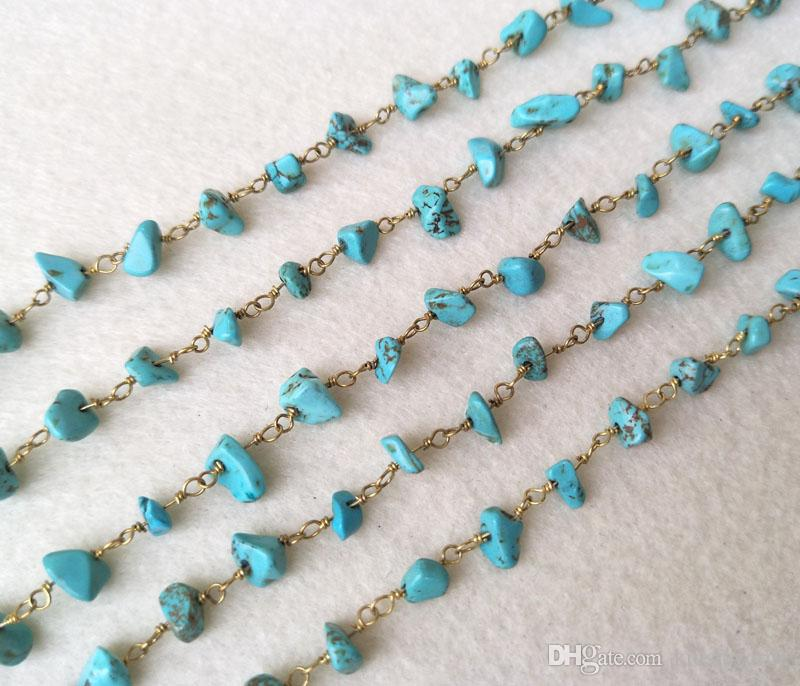 Natural turquoise tophus Stone Crystal Chips Jewelry Finding Necklace Chains,Gold Color DIY necklace bangle jewelry making LZ28