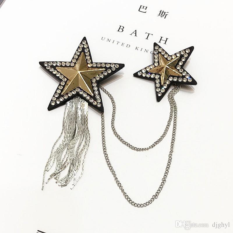 Vintage Style Promotion Big Five-pointed Star Rhinestones Crystal Tassel Chain Flower Brooch Pin Fashion Woman Flower Brooch Girl Jewelry