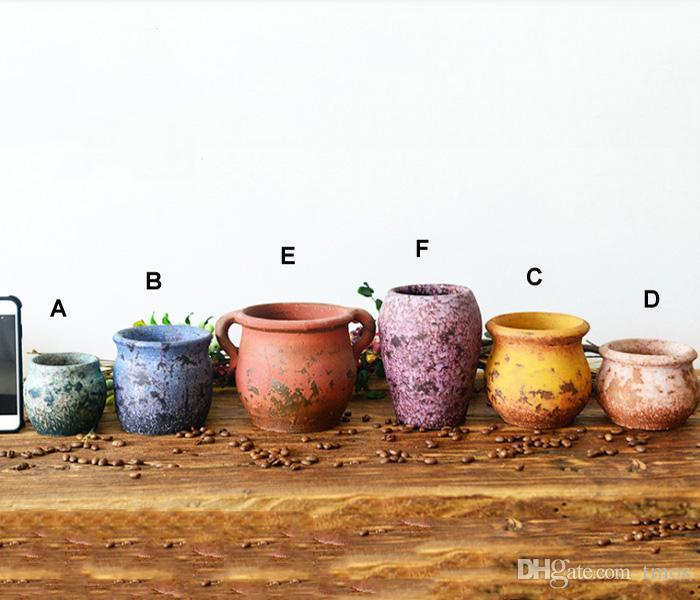 Acheter PACK Multi Couleur Chinois RetroStyle Argile Pot De Fleur Pour  Plantes Succulentes Pot De Fleurs Pot En Terre Cuite Jardin Décoration Mini  Pots De ...