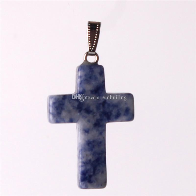 New Special Simple Mix Stone Nature Snowflake Obsidian Fashion Charms Cute Hot Party Amazing Love of God Women Prayer Crystals Cross Pendant
