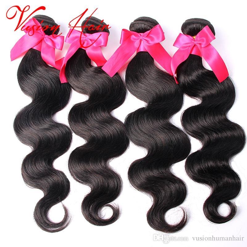 Virgen brasileña del pelo de lotes Buena onda del cuerpo barato Tejidos 3 piezas brasileño mojado cabello humano y ondulado Virgen teje pelo natural Color Negro