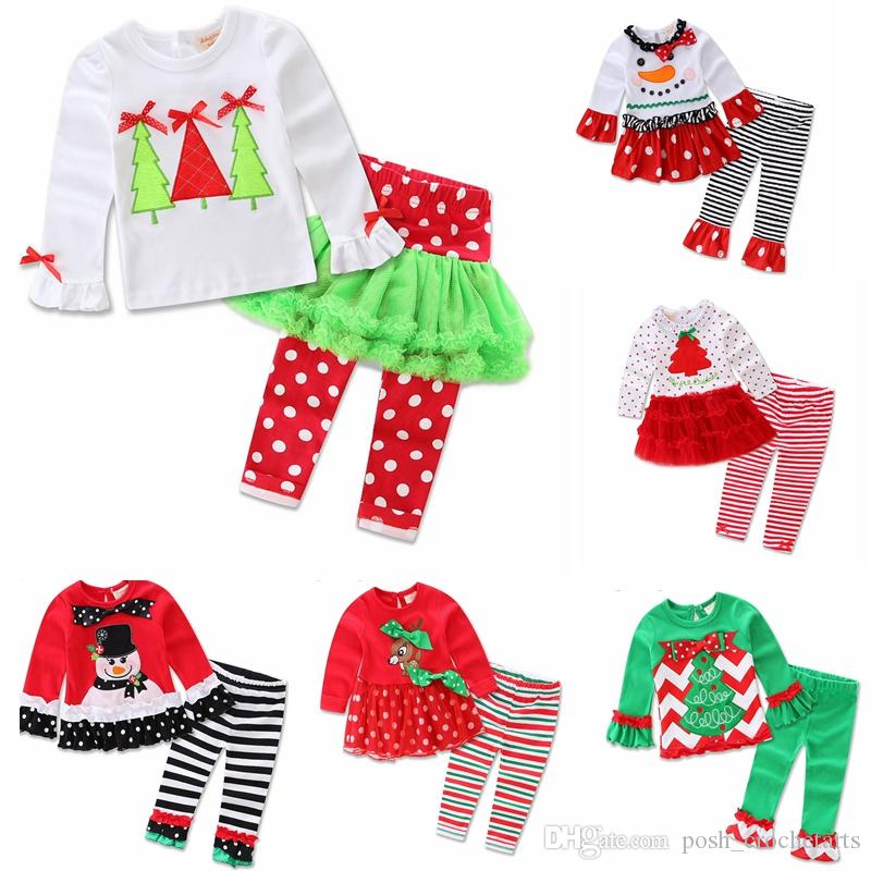 d287713f7c6eb 2019 7 Patterns Girls Christmas Outfits 2017 Ruffle Icing Pants With Santa  Tee Clothing Sets For Xmas Toddler Girls Boutique Christmas Pajamas From ...
