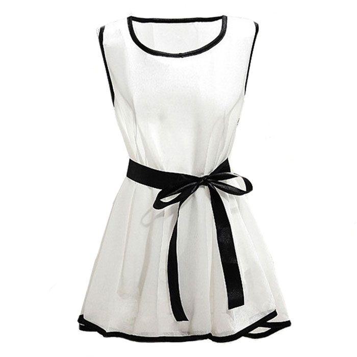 Летние шифоновые блузки женщины повседневная белые рубашки Blusas Bloseveless с черным поясом