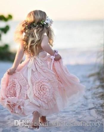 ピンクAラインフラワーガールズドレスレースアップリケフリルキッズフォーマルウェアノースリーブロングビーチの女の子Pageantガウン