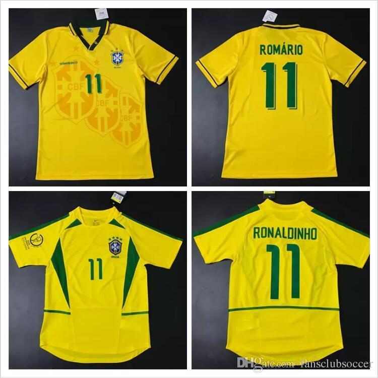 9118f79f5d588 Compre 1994 1998 2002 Brasil Camisas Para O Lar 93 94 98 02 Brasil Retro  Camisas Clássicas Carlos Romario Ronaldo Ronaldinho Jersey Camisa De  Futebol De ...