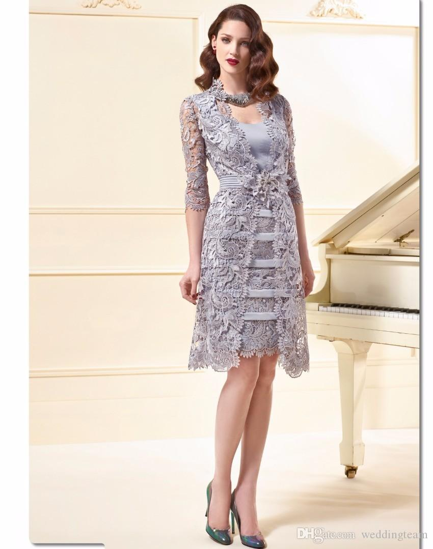 Elegant Gary Sheath Knee Length Mother Of Bride Dresses Square With Half Sleeve Lace Jacket Formal Wedding Party Gowns