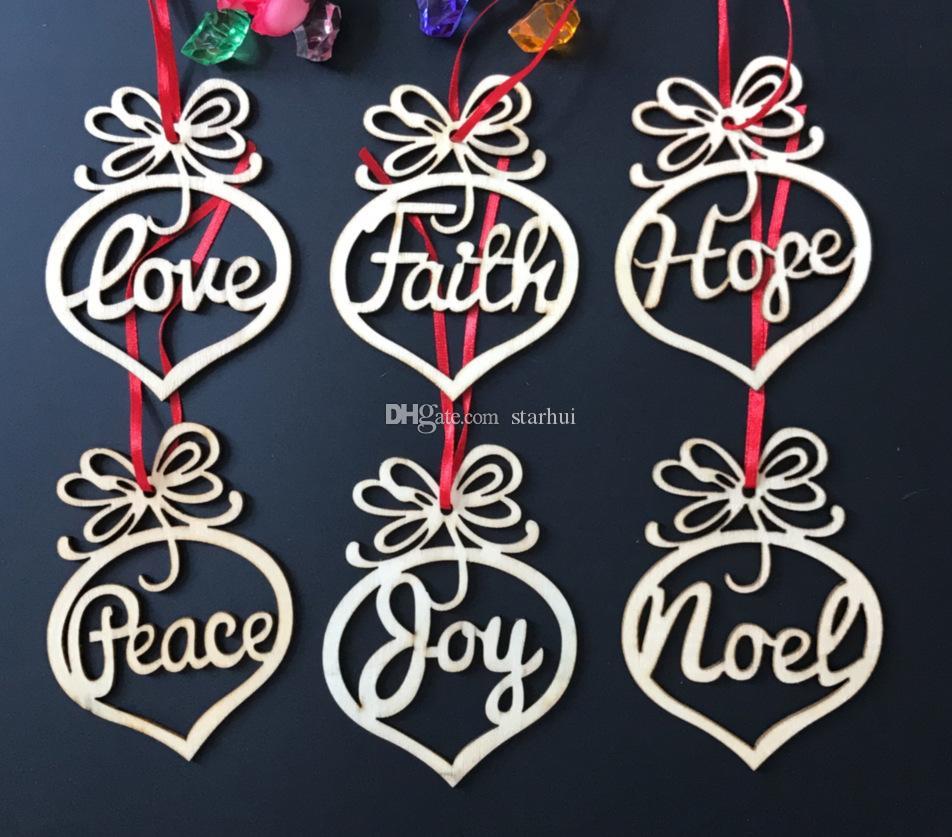 6 조각 / 크리스마스 트리 장식품 나무 칩 하트 버블 패턴 펜 던 트 Xmas 집 축제 파티 장식 선물 WX9-124 교수형