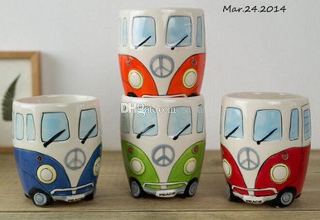 New Cartoon Double Decker Bus Mugs Hand Painting Retro Ceramic Cup Coffee Milk Tea Mug Drinkware Novetly Gifts