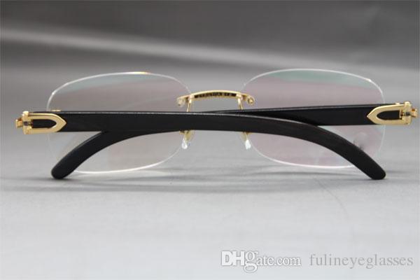 Hot Rimless 8200757 Men Black Buffalo Horn Occhiali da vista montature occhiali da uomo marca Frame Size: 56-18-140mm
