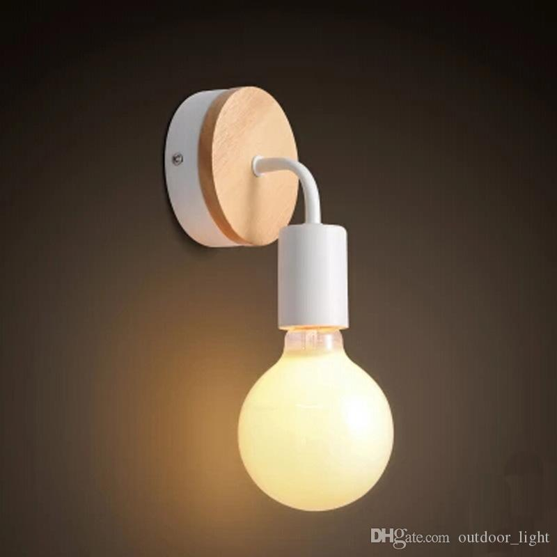 LED E27 Vintage Solid Wood Wall Lamps Bedroom Bedside Lights Retro Industrial Wall Sconces Aisle Light Fixture Abajur Decoration